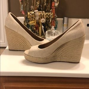 Coach espadrille peep toe wedges
